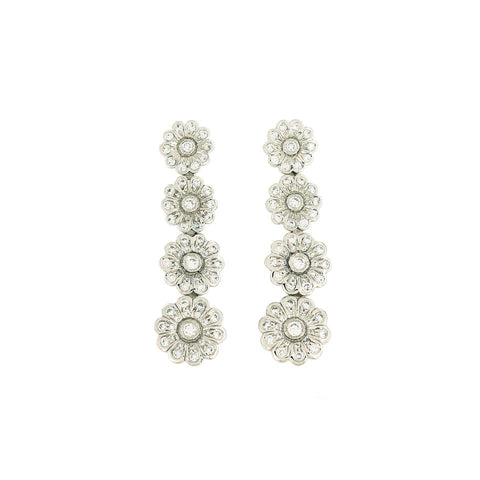 Tiffany & Co. Platinum Diamond Rose Graduated Drop Earrings