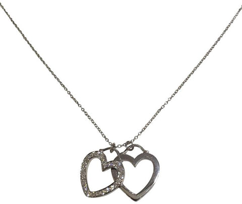Tiffany & Co. White Gold Rare and Diamond Double Heart Necklace