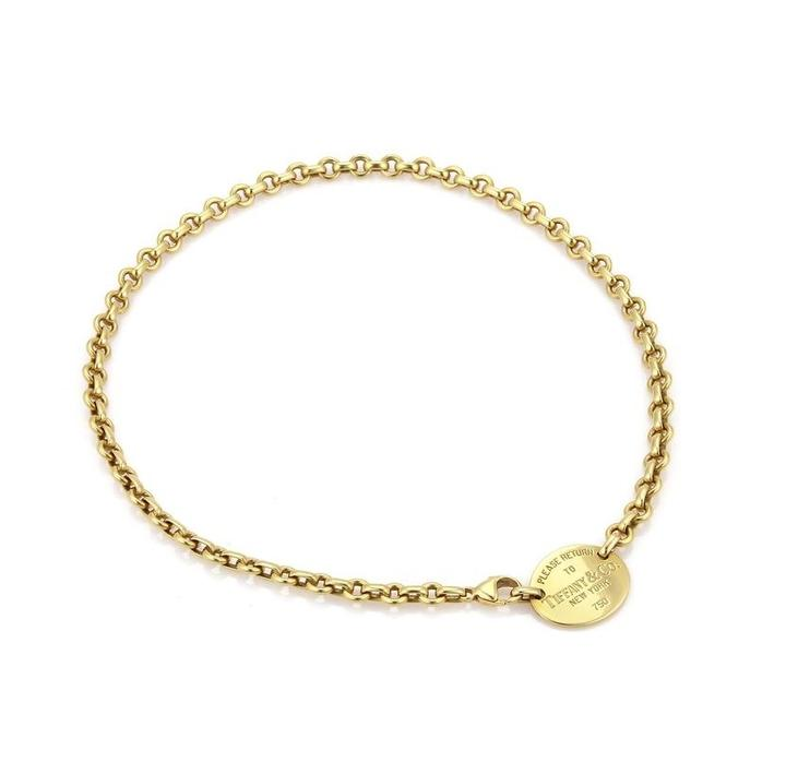 65a634d79 Tiffany & Co. Return To Yellow Gold Oval Tag Choker – Crown Jewelers