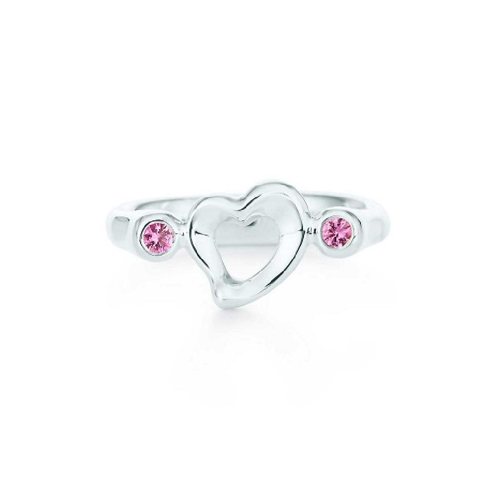 3a4267913 Tiffany & Co. Silver Elsa Peretti Open Heart with Pink Sapphires Size 5 Ring