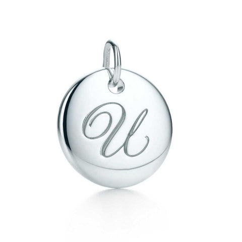 "Tiffany & Co. Silver Notes Letter ""U"" Disc Small Size Charm"