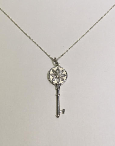 Tiffany & Co. Silver Daisy Flower Key Pendant