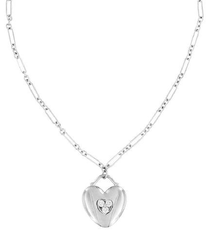 Tiffany & Co. White Gold Diamond Heart Pendant Fancy Link Chain Necklace