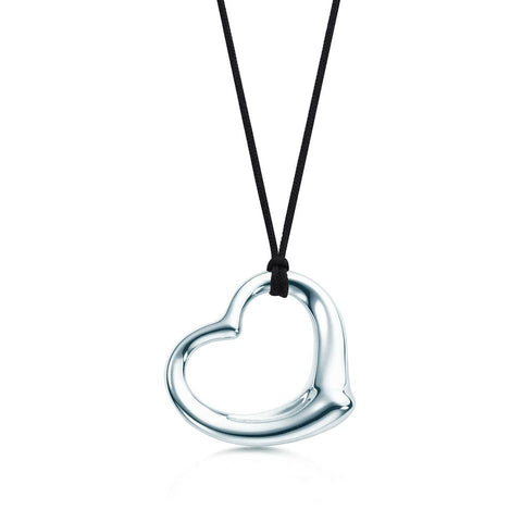 Tiffany & Co. Silver Elsa Peretti Open Heart Pendant with Silk Cord & Chain Set Necklace