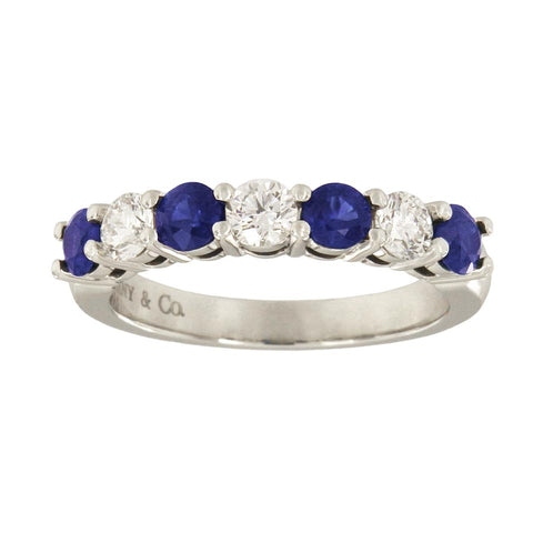 Tiffany & Co. Platinum Diamond Blue Sapphire Band Ring