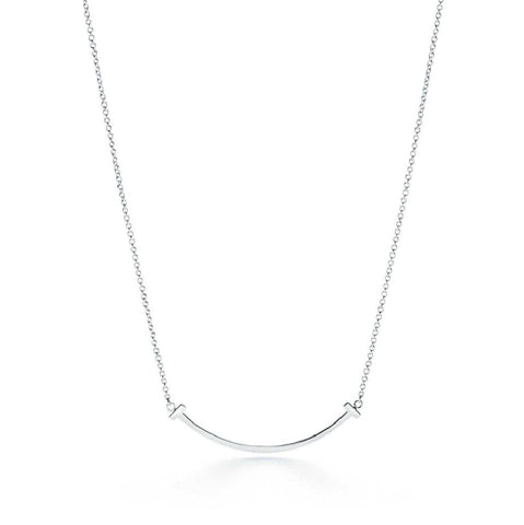 Tiffany & Co. T-smile Mini Pendant In 18k White Gold Necklace