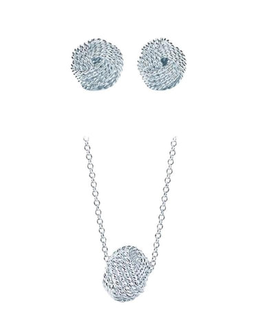 Tiffany & Co. Silver Twist Knot Pendant Earrings Set with Box