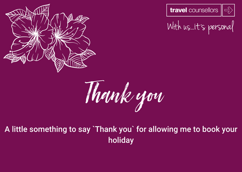 Travel Counsellors Thank You card