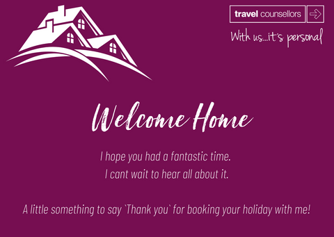 Travel Counsellors Welcome Home card