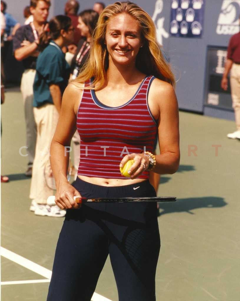 Mary Pierce Red in Striped Tank Top and Dark Blue Pants Premium