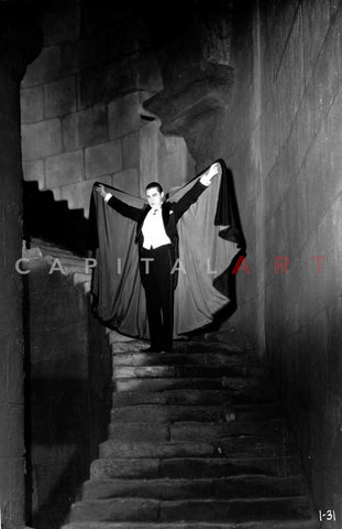 Dracula Walking Down Stairs Premium Art Print