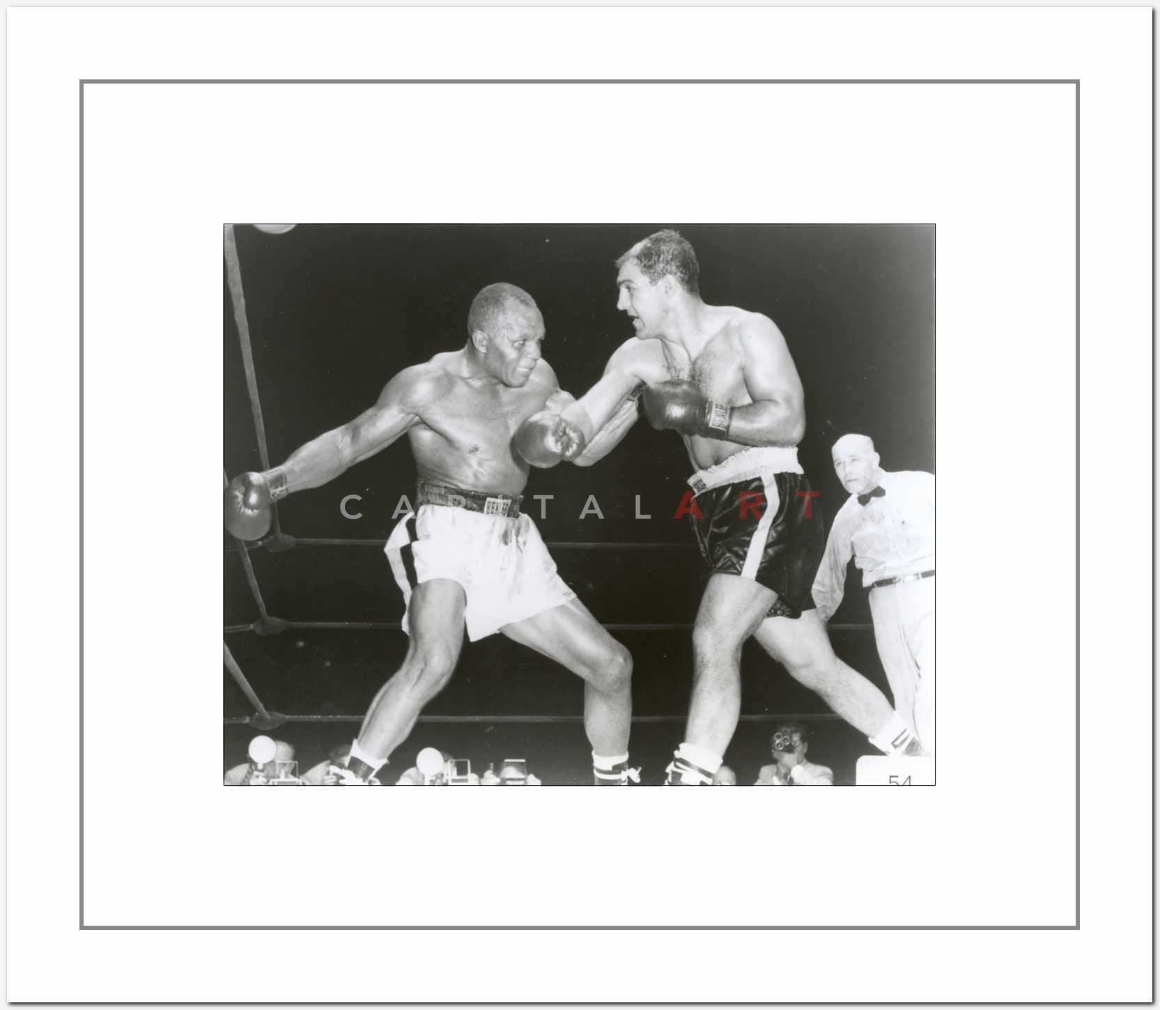 Rocky Marciano Boxing with a Black Man Premium Art Print – Celebrity ...