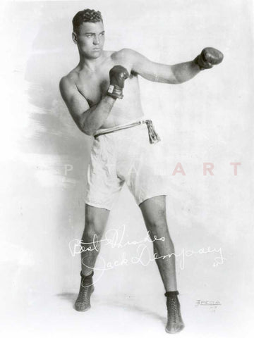 Jack Dempsey Posed in a Boxer Attire with Signature Premium Art Print
