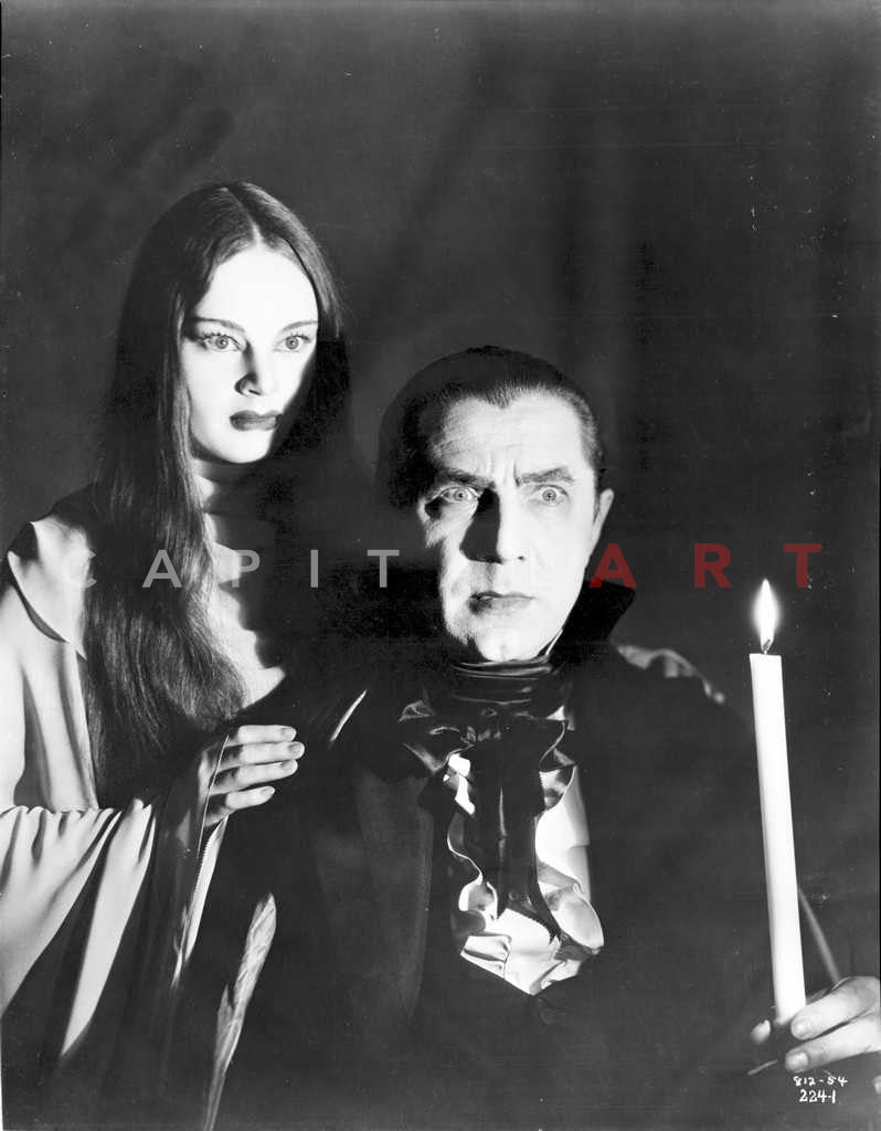 Mark Of The Vampire Man and Woman Looking Serious with Black Background Premium Art Print