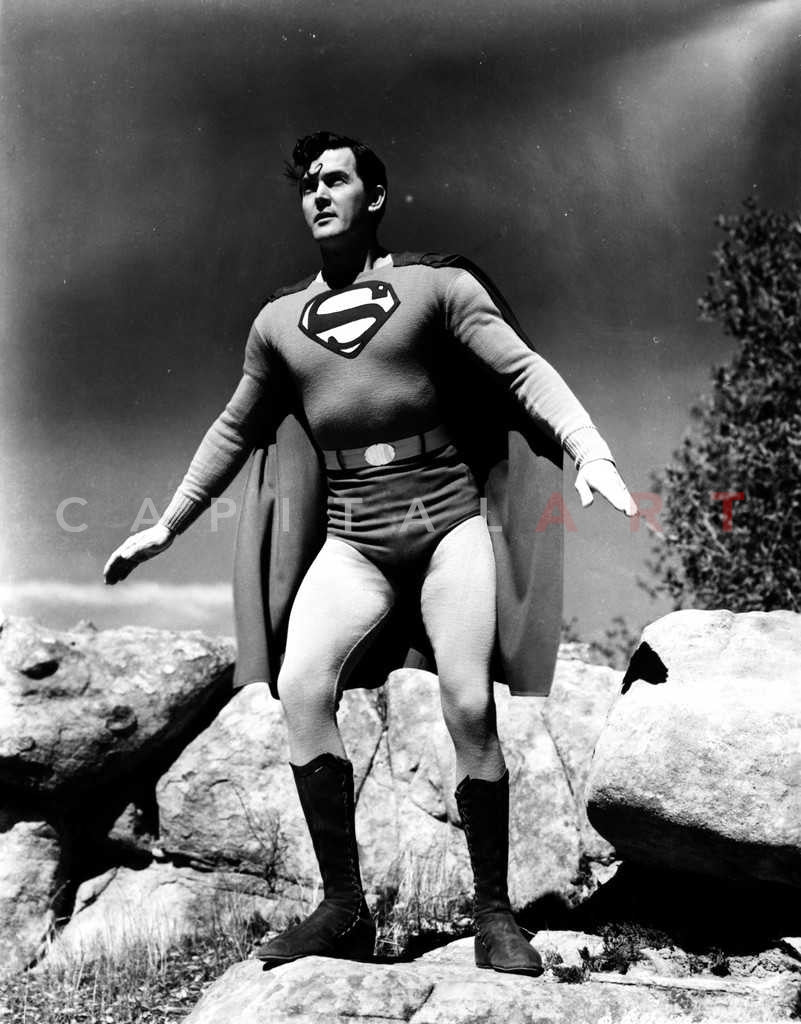 Superman Ready to Fly in Black and White Premium Art Print