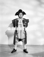 Abbott & Costello Posed in Napoleon Costume and Drawing a Sword Classic Portrait Premium Art Print