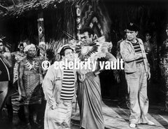 Abbott & Costello in Stripes laughing Premium Art Print
