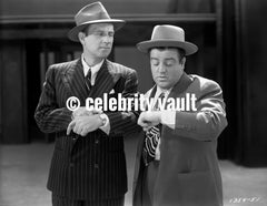 Abbott & Costello Posed in Suit One wearing a Hat in Classic Portrait Premium Art Print