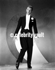 Fred Astaire standing in One Leg in Black and White Premium Art Print