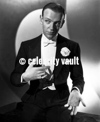 Fred Astaire Fixing Tie in Black and White Premium Art Print