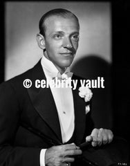 Fred Astaire Playing Tennis in Black and White Portrait Premium Art Print
