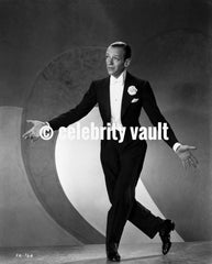 Fred Astaire Seated on Chair Black and White Premium Art Print