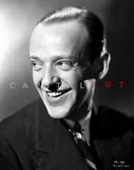 Fred Astaire smiling in Black Suit and White Bow Tie in Black and White Premium Art Print