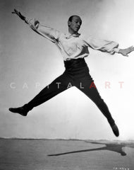 Fred Astaire Posed in Striped Shirt Black and White Premium Art Print