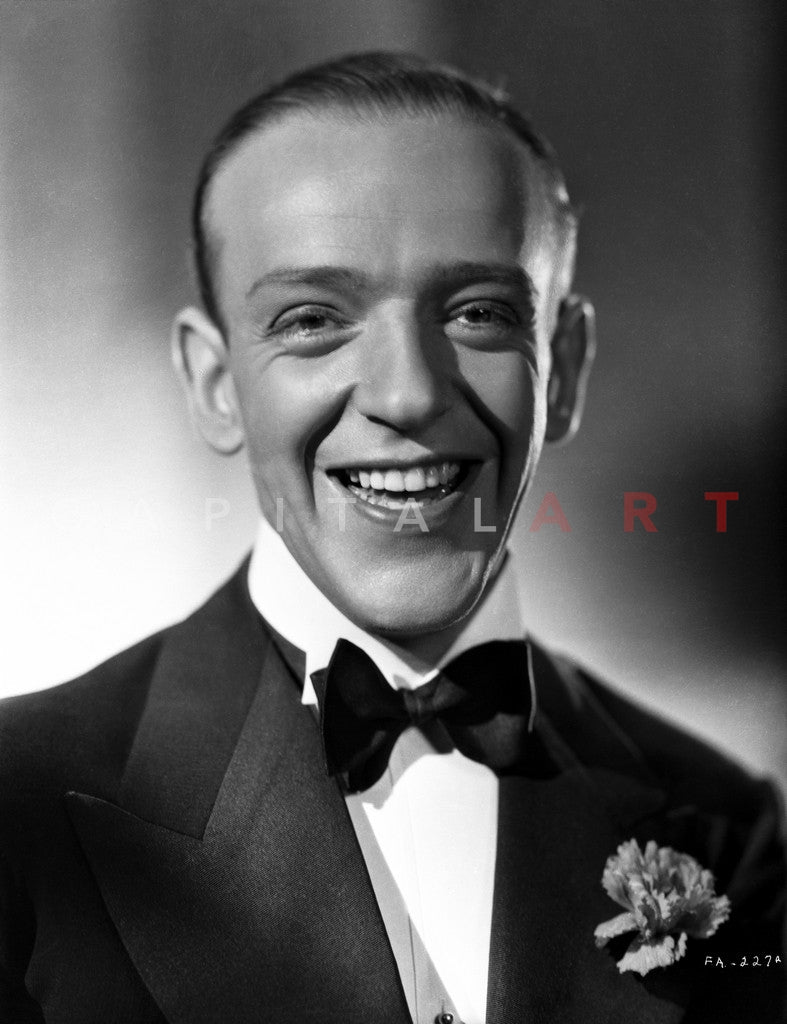 Fred astaire smiling in classic black and white portrait premium art p celebrity vault