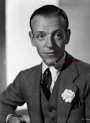 Fred Astaire smiling in Formal Suit and Top Hat in Black and White Premium Art Print