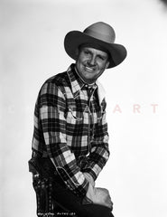 Gene Autry Leaning on Hand in Cowboy Outfit Premium Art Print
