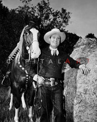 Gene Autry wearing Cowboy Outfit, Posed in Striped Shirt Premium Art Print