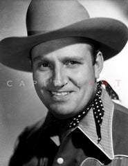 Gene Autry smiling in Striped Shirt and Cowboy Hat Premium Art Print