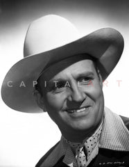 Gene Autry Riding a Horse in a Western Outfit Premium Art Print
