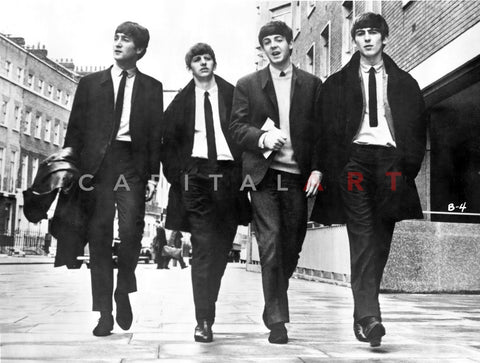 Beatles Group Picture Walking on the Street in Black Coat and White Collar Shirt with Necktie Premium Art Print