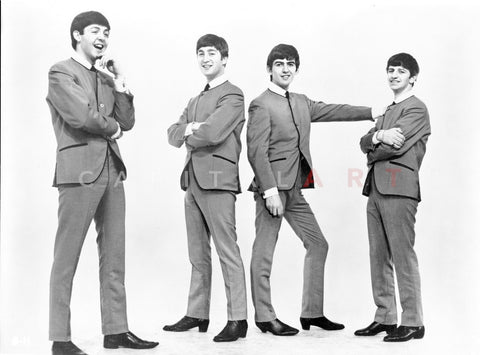 Beatles Group Picture in Black Suit and White Collar Shirt with Black Necktie on White Background Premium Art Print
