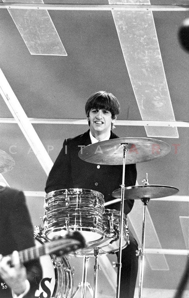 Beatles Ringo Starr On Drums In Black Suit And White Collar Shirt Premium Art Print