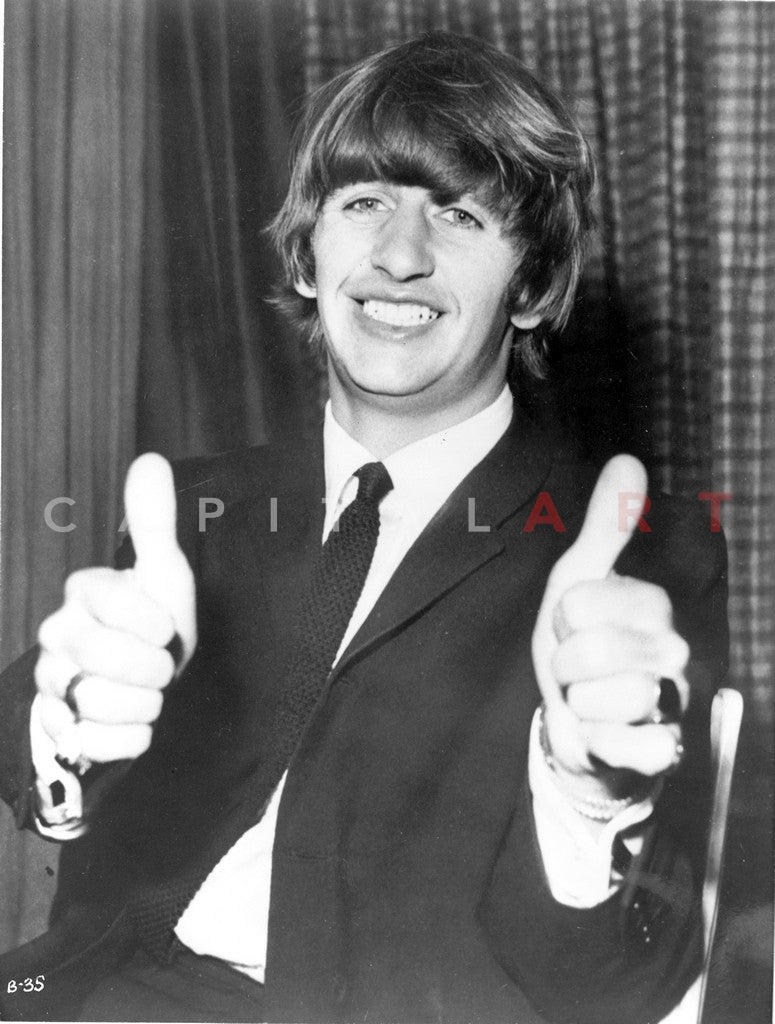 Beatles Ringo Starr Portrait Doing A Thumbs Up In Black Suit And Necktie Premium Art Print