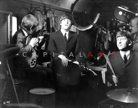 Beatles Lennon Holding a Guitar while Ringo Starr Playing on the Drums Premium Art Print