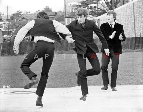 Beatles Candid Shot Ringo Starr Dancing while John Lennon Clapping in Black Suit Premium Art Print