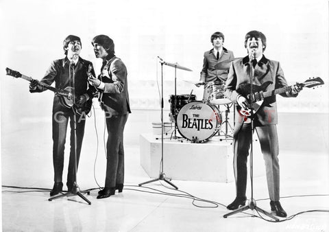 Beatles Perfroming on White Floor and Background in Black and Grey Suit Premium Art Print