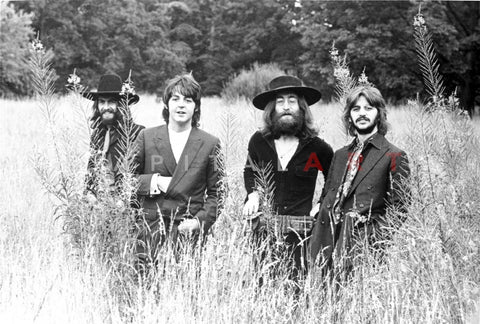 Beatles Group Picture on the Bushes in Black Suit and Black Brim Hat Premium Art Print