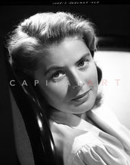 Ingrid Bergman standing in a Black Dress Premium Art Print