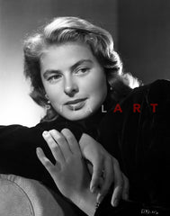 Ingrid Bergman in Sisters Outfit Black and White Premium Art Print