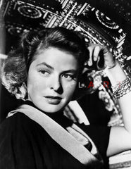 Ingrid Bergman Posed in Black Gown With Fan Premium Art Print