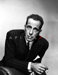 Humphrey Bogart Smoking in Black Suit and Hat Premium Art Print