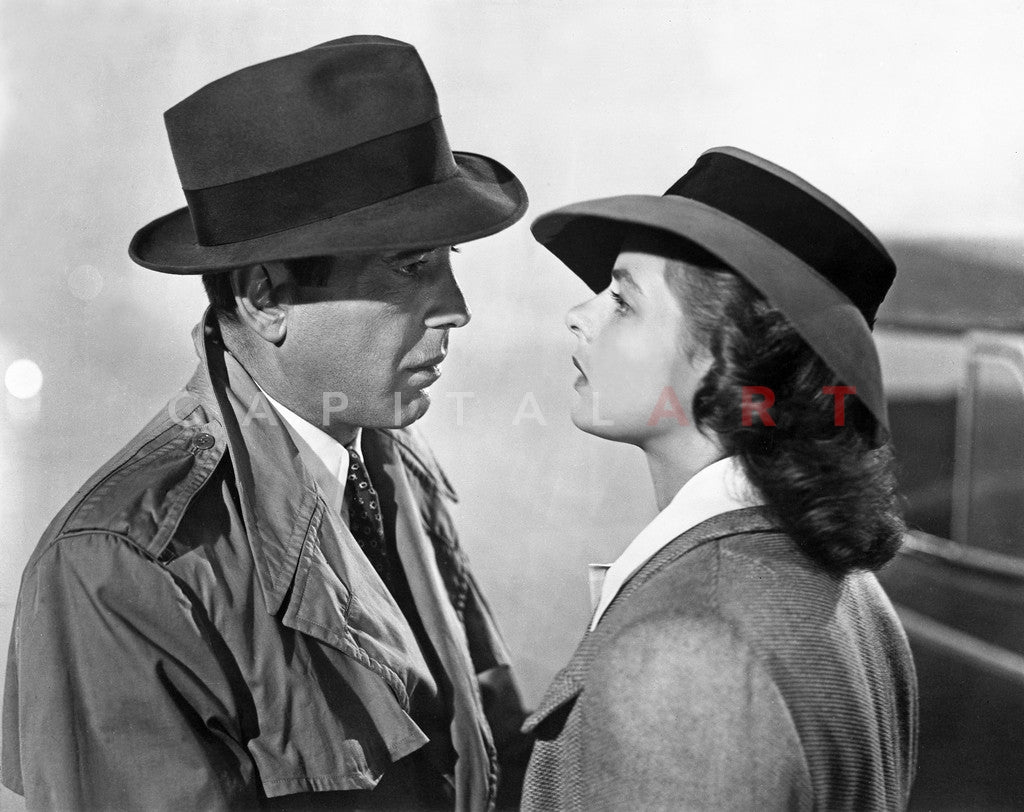 Casablanca Man and Woman wearing Trench Coat with Hat Premium Art Print