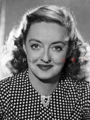 Bette Davis Close Up Portrait in White Long Sleeve Ribbed Linen Shirt Premium Art Print