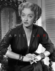 Bette Davis Portrait in Looking at the Right in Floral Silk Shirt with Curly Waved Hairstyle Premium Art Print