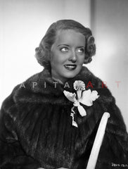 Bette Davis Portrait Looking Slightly Up in Short Curls and Two Printed Long Sleeves Premium Art Print